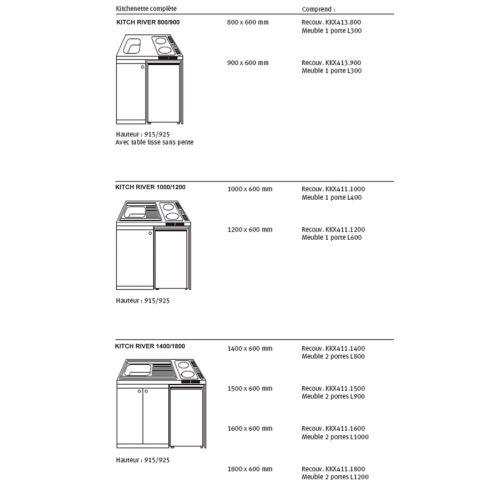Kichenette electrique 90 x 60 plaque 2 feux Meuble et frigo 18/10 WH - FRANKE - 691516 pas cher Secondaire 2 L