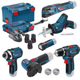Pack 6 outils sans fil Bosch (GSR+GSA+GLI+GOP+GWS+GDR) 12 V + 3 batteries 2,0 Ah + L-BOXX pas cher