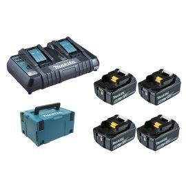 Pack énergie Makita 4 batteries 18 V 6 Ah BL1860B + chargeur double DC18RD + coffret MAKPAC pas cher Principale M