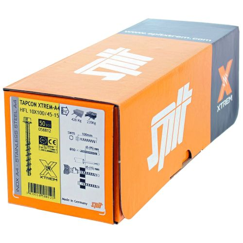 Boîte de 50 vis béton Tapcon HFL inox A4 8x80/35-15 à tête hexagonale - SPIT - 058810 pas cher Secondaire 5 L