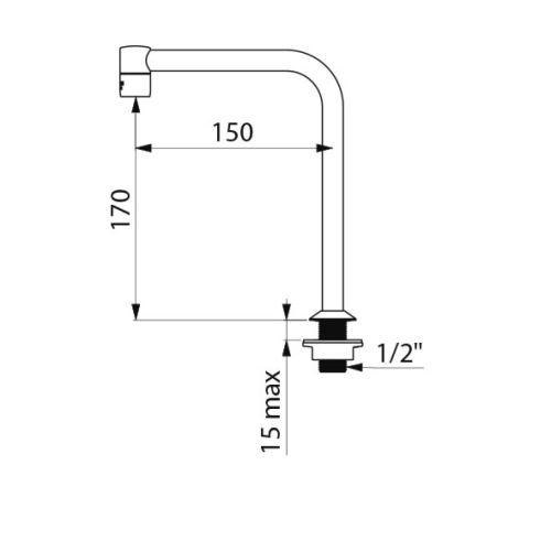 Bec tube fixe sur plage mâle 1/2 150 mm - DELABIE - 204001 pas cher Secondaire 1 L