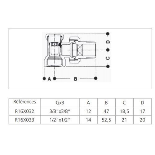 Coude de réglage radiateur chrome 3/8 - GIACOMINI - R16X032 pas cher Secondaire 1 L