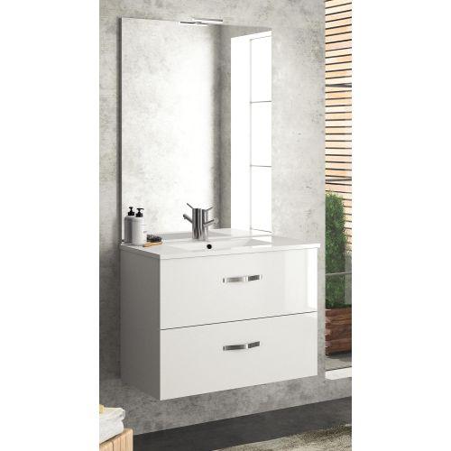Meuble sous vasque NEOVA ANGELO L90 blanc brillant 2 tiroirs coulissants pas cher