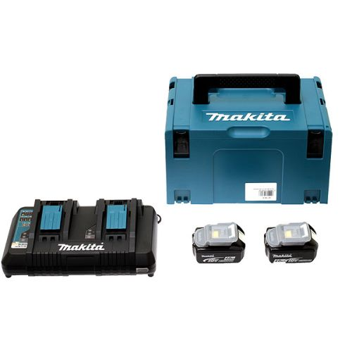 Pack énergie Makita 2 batteries 18 V Li-Ion 4 Ah BL1840B + chargeur double DC18RD + coffret MAKPAC photo du produit