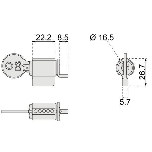 Fermeture encastrée double à crochet SILENE photo du produit Secondaire 5 L