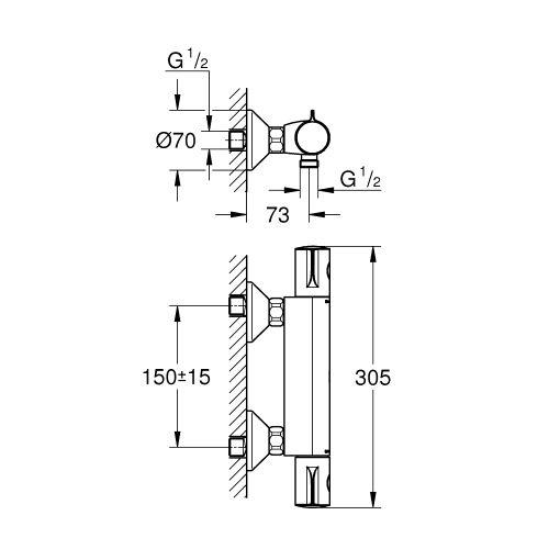 Mitigeur thermostatique douche Grohtherm 800 gamme Eco - GROHE - 34562000 pas cher Secondaire 1 L