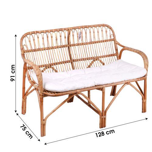 Sofa en rotin ELLA 2 places avec coussin pas cher Principale L