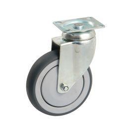 Roulettes ameublement caoutchouc grise à pare-fils polyamide à platine photo du produit Principale M