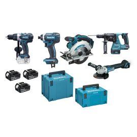 Pack 5 outils sans-fil 18 V Makita (DDF458 - DTD152 - DHR243 - DGA506 - DSS610) + 3 batteries 5 Ah photo du produit