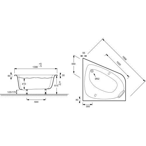 Baignoire ODEON UP angle 140x140 châssis compris - JACOB DELAFON - E6070-00 pas cher Secondaire 1 L