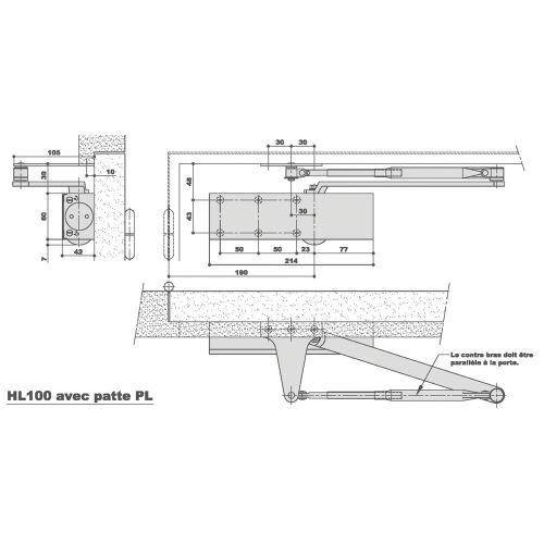 Ferme-porte HL 100 force 2-4 1100mm - LEVASSEUR - 388496 pas cher Principale L