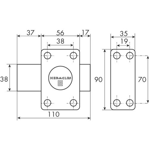Verrou à bouton cylindre de 35 mm - HERACLES - 10020351HE pas cher Secondaire 3 L