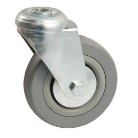 Roulettes ameublement caoutchouc grise à oeil pas cher