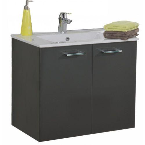 Meuble sous vasque NEOVA ANGELO L60 graphite mat 2 portes pas cher