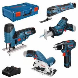 Pack de 5 outils sans-fil Bosch (GSR + GST + GOP + GKS + GSA)  12 V + 3 batteries 3 Ah + L-BOXX pas cher