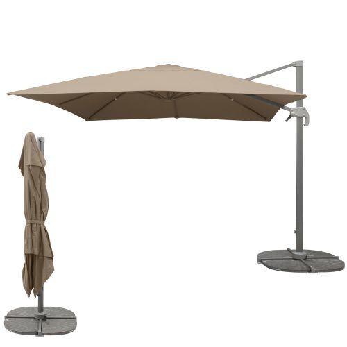 Parasol déporté carré en toile 300 x 300 cm taupe pas cher Principale L