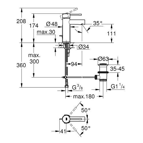 Mitigeur lavabo monocommande ESSENCE chromé taille S - GROHE - 32898001 pas cher Secondaire 1 L