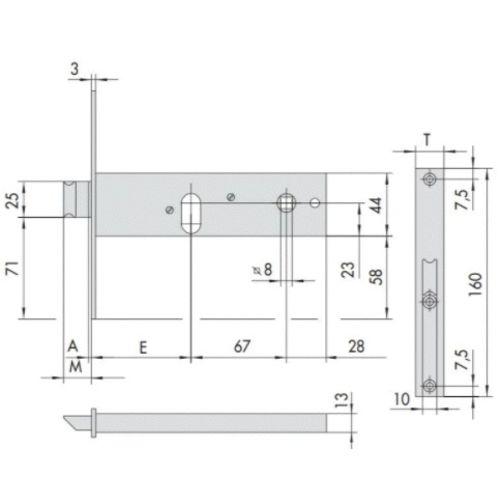 Serrure à larder 44150 à cylindre mortaise entraxe 67mm têtière 16mm - CISA - CIS44150.60 pas cher Secondaire 1 L