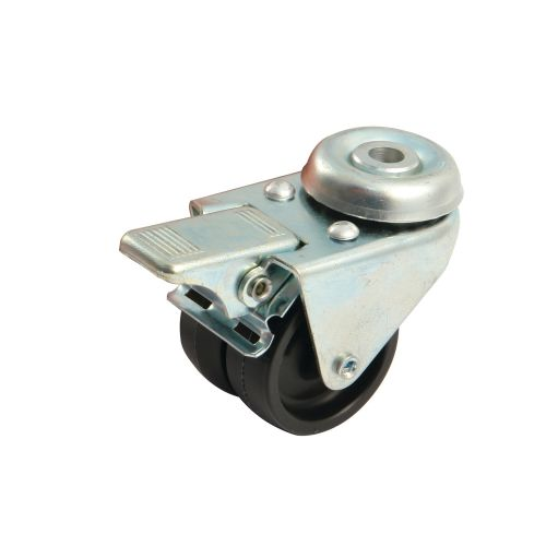 Roue double galet 50mm platine ronde pivotante avec frein - AVL - 590318A pas cher Principale L