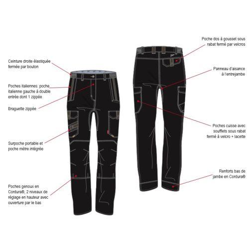 Pantalon de travail femme ITUHA noir taille 4 - LAFONT - LA-1STFCP-4PM-5110-4 pas cher Secondaire 2 L