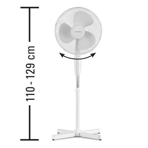 Ventilateur sur pied blanc hauteur réglable - TVE 16 photo du produit