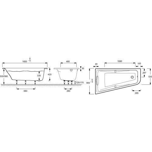 Baignoire Odéon up Asymétrique gauche avec châssis photo du produit Secondaire 1 L