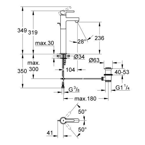 Mitigeur lavabo lave-mains Lineare - GROHE - 32250000 pas cher Secondaire 1 L