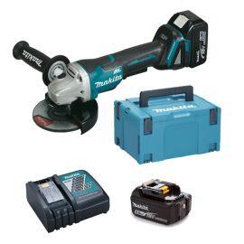 Meuleuse sans-fil Makita DGA508RTJ 18 V + 2 batteries 5 Ah + chargeur + coffret Makpac 3 pas cher