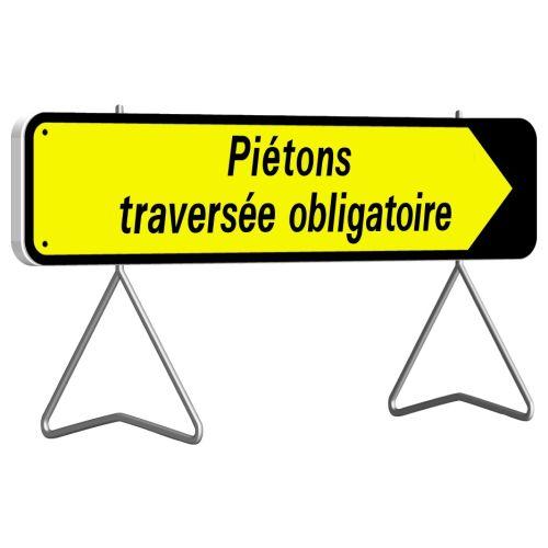 Panneau de signalisation réctangulaire 1000x300 mm 'Piétons traversée obligatoire' - TALIAPLAST - 526014 pas cher Principale L