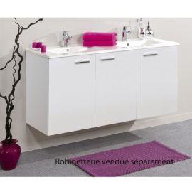 Meuble sous vasque Angelo Blanc brillant 3 portes photo du produit