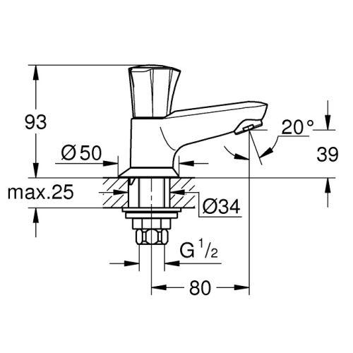 Robinet de lavabo monofluide Costa L bec coulé - GROHE - 20404001 pas cher Secondaire 1 L