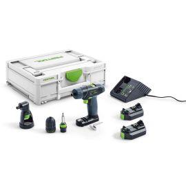 Perceuse-visseuse sans-fil Festool TXS 2,6-Set 10,8 V + 2 batteries 2,6 Ah + chargeur + coffret pas cher
