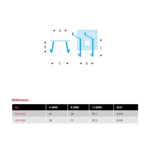 Crochet individuel 61 x 28 mm pour pinces - FACOM - CKS.55A pas cher Secondaire 1 L