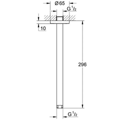 Bras de douche plafond Longueur 300mm - GROHE - 28497000 pas cher Secondaire 1 L