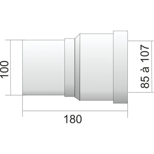 Pipe droite WC mâle sortie droite D.100 x L 180 mm - REGIPLAST - MA pas cher Secondaire 1 L