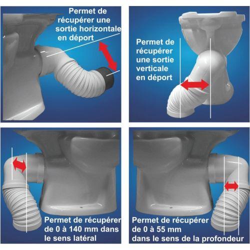 Pipe WC coudée extensible Regiplast ''Magic Pipe'' photo du produit Secondaire 1 L