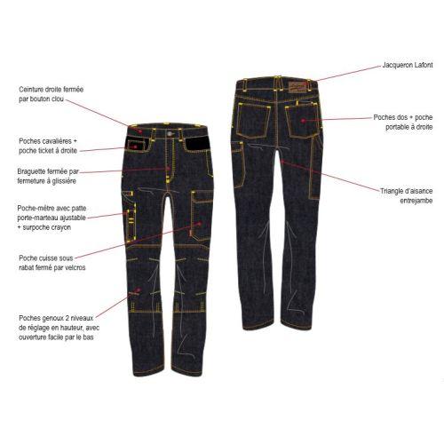 Pantalon de travail homme en jean ALICKI bleu marine taille 40 - LAFONT - LA-1STNJN-6-1-40 pas cher Secondaire 3 L