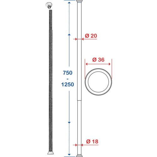 Porte-rideau droit extensible Pellet photo du produit Secondaire 1 L