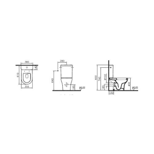 PACK WC CARENE COMPLET ZENTRUM 3/6L ---9012 photo du produit Secondaire 1 L
