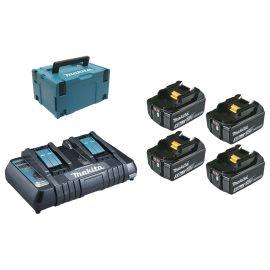 Pack energie 4x6AH + chargeur double en coffret MAKPAC - MAKITA - 197626-8 pas cher