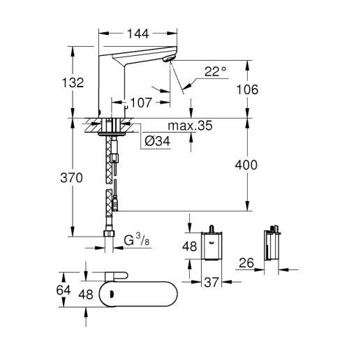 Mitigeur lavabo infrarouge Eurosmart Cosmopolitan E - GROHE - 36327001 pas cher Secondaire 1 L