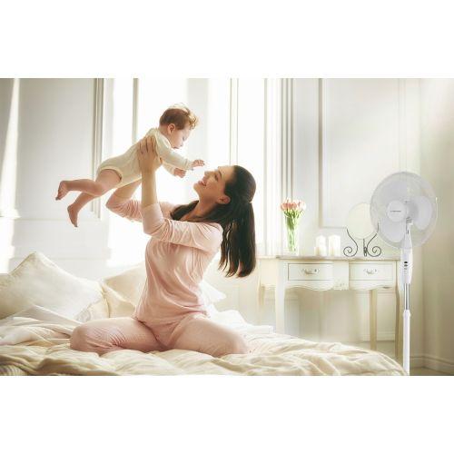 Ventilateur sur pied blanc hauteur réglable TVE 16 - 11/3050B pas cher Secondaire 3 L