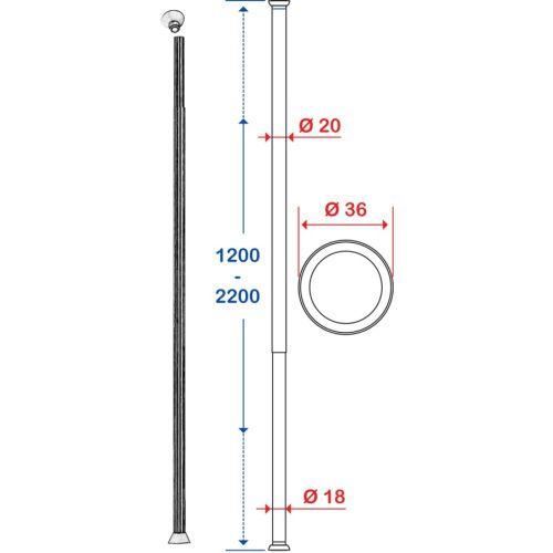 Porte-rideau droit extensible Pellet photo du produit Secondaire 2 L