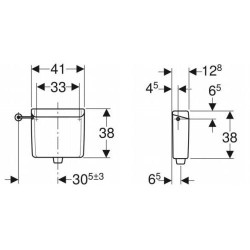 Réservoir à encastrer basse position Geberit AP123 avec coude photo du produit Secondaire 1 L