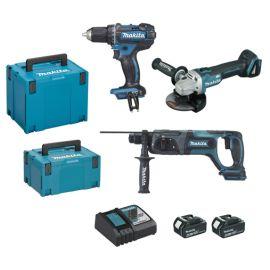Pack 3 outils sans-fil Makita DLX3078MJ 18 V (DDF482 + DGA504 + DHR241) + 2 batteries 4 A + chargeur photo du produit