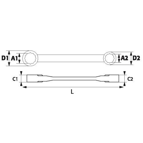 Jeu 4 clés polygonales à cliquet - SAM OUTILLAGE - 106CP-J4 pas cher Secondaire 1 L