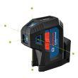 Laser vert 5 points GPL 5 G avec 2 piles AA - BOSCH - 0601066P00 pas cher