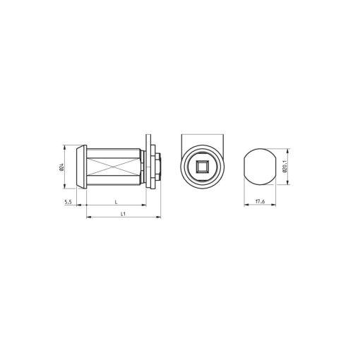 Barillet 911220 à empreinte carrée femelle photo du produit Secondaire 1 L