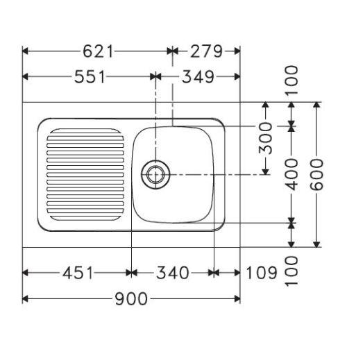 Evier inox à poser 1 cuve + 1 egoutoir 900 x 60 cm - FRANKE - 082508 pas cher Secondaire 1 L