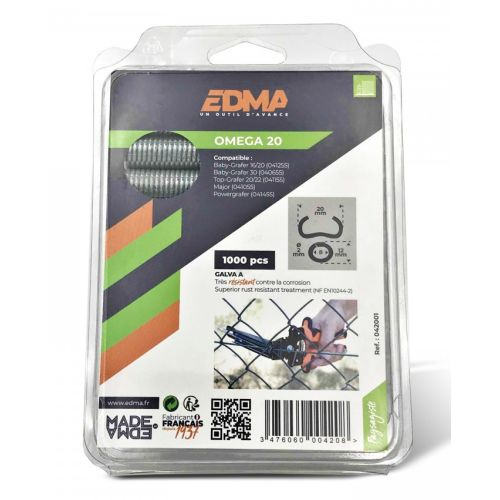 1000 agrafes 20 mm à grillage galvanisées 'Omega' - EDMA - 042001 pas cher